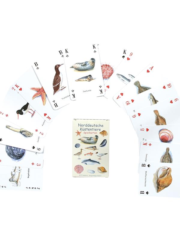 Kartenspiel mit Tieren der Küste