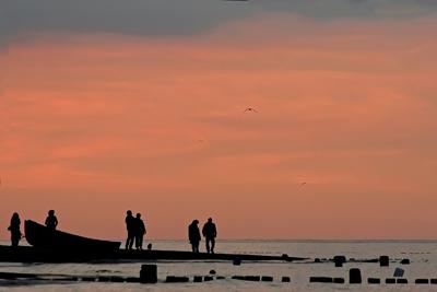 Sonnenuntergang am Strand von Bansin.