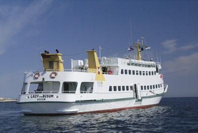 Erste Schiffsverbindung von Büsum nach Helgoland