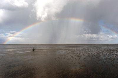 Regenbogen über dem Watt