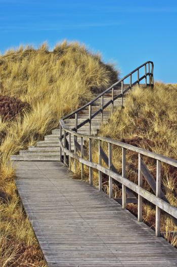Treppenaufstieg zur großen Aussichtsdüne