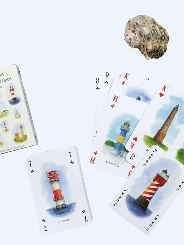 Kartenspiel mit Leuchtturm-Motiven